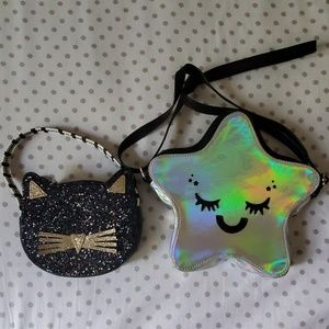 2 Little Girls Purses Cat & Star